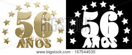 Golden digit fifty six and the word of the year decorated with stars. Translated from the Spanish. 3D illustration