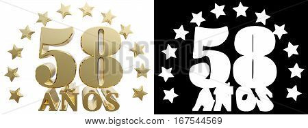 Golden digit fifty eight and the word of the year decorated with stars. Translated from the Spanish. 3D illustration