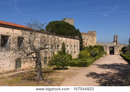 Entrance courtyard Convent of the Order of Christ Tomar. Portugal