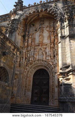 Manueline entrance of the Convent church Convent of the Order of Christ (Convento de Cristo) Tomar Portugal