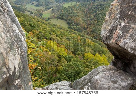 View down from the rocky mountain top of Seneca Rocks in West Virginia