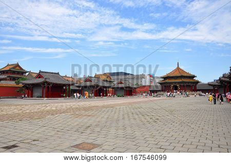 SHENYANG, CHINA - JUL. 26, 2012: Dazheng Hall in the center of Shenyang Imperial Palace Mukden Palace, Shenyang, Liaoning Province, China. Shenyang Imperial Palace is UNESCO world heritage site.