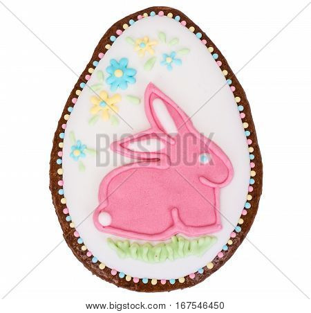 Traditional Easter cakes with thematic pattern on white