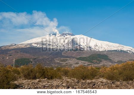 South flank of volcano Etna covered by snow during the winter