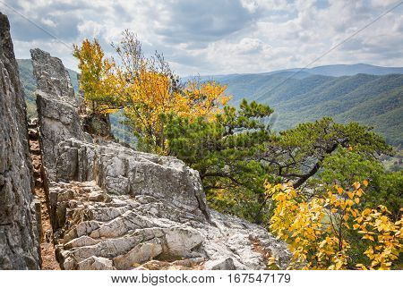 Summit of the rocky granite mountain top of Seneca Rocks in West Virginia