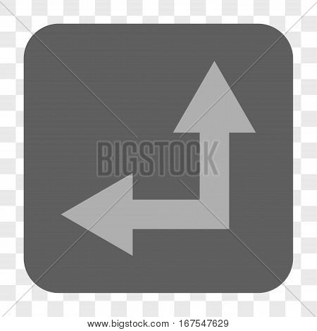 Bifurcation Arrow Left Up interface toolbar button. Vector icon style is a flat symbol inside a rounded square button light gray and gray colors chess transparent background.