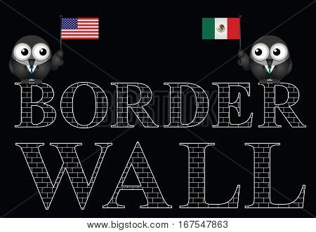 Representation of the USA border wall with Mexico isolated on black background