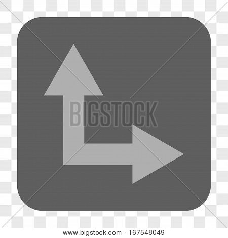 Bifurcation Arrow Right Up interface toolbar button. Vector icon style is a flat symbol on a rounded square button light gray and gray colors chess transparent background.
