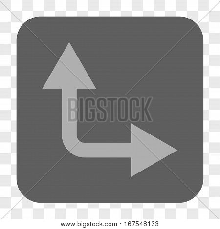 Bifurcation Arrow Right Up interface toolbar button. Vector icon style is a flat symbol in a rounded square button light gray and gray colors chess transparent background.