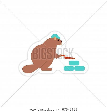 stylish paper sticker on white background beaver builder
