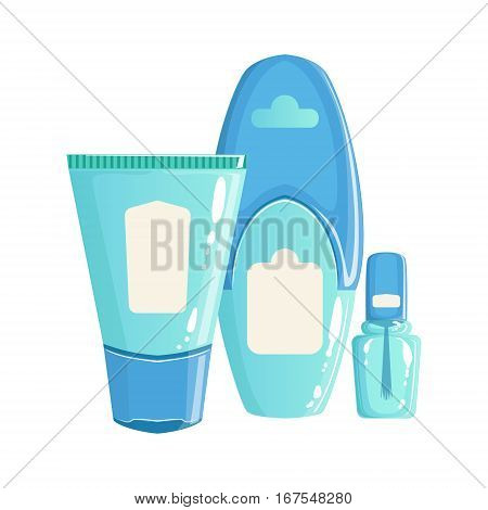 Cream, Lotion And Nail Polish In Blue Plastic Containers, Beauty And Skincare Product Line Set Template Design. One Brand Items For The Cosmetic Treatment And Beautifying Procedures Cartoon Objects.