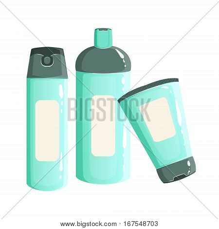 Cream, Shampoo And Deodorant Containers, Beauty And Skincare Product Line Set Template Design. One Brand Items For The Cosmetic Treatment And Beautifying Procedures Cartoon Objects. poster