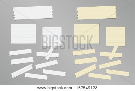 Sticky, adhesive masking tape, ruled note paper stuck on gray background.