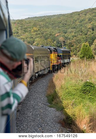 Photographer takes photo of engine on steep trip into mountains of West Virginia