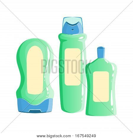 Cream, Shampoo And Deodorant Containers, Beauty And Skincare Product Line Set Template Design. One Brand Items For The Cosmetic Treatment And Beautifying Procedures Cartoon Objects.