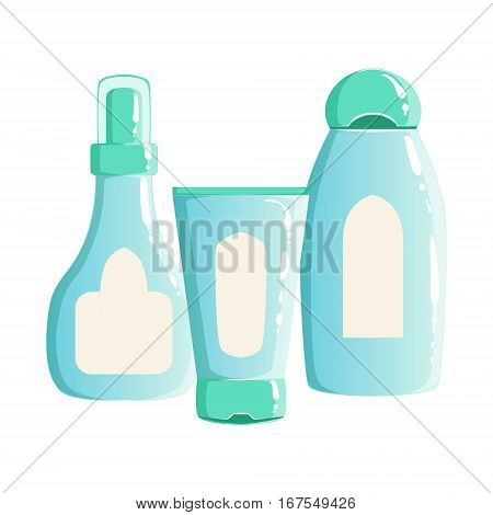 Cream, Shampoo And Gel Containers, Beauty And Skincare Product Line Set Template Design. One Brand Items For The Cosmetic Treatment And Beautifying Procedures Cartoon Objects.