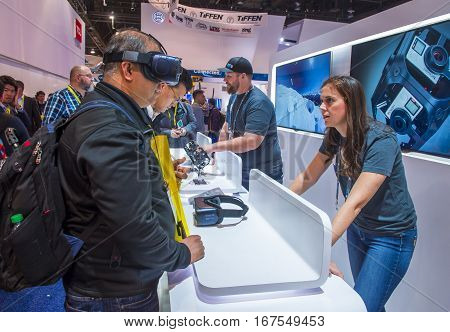 LAS VEGAS - JAN 08 : Virtual reality demonstration at the Gopro booth at the CES show in Las Vegas on January 08 2017 CES is the world's leading consumer-electronics show.
