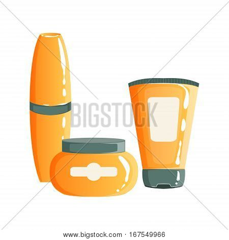 Cream, Gel And Maskara In Orange Plastic Containers, Beauty And Skincare Product Line Set Template Design. One Brand Items For The Cosmetic Treatment And Beautifying Procedures Cartoon Objects.