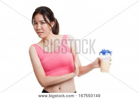 Beautiful Asian Healthy Girl Hate Whey Protein.