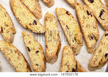 delicious biscotti with nuts and cranberries close up