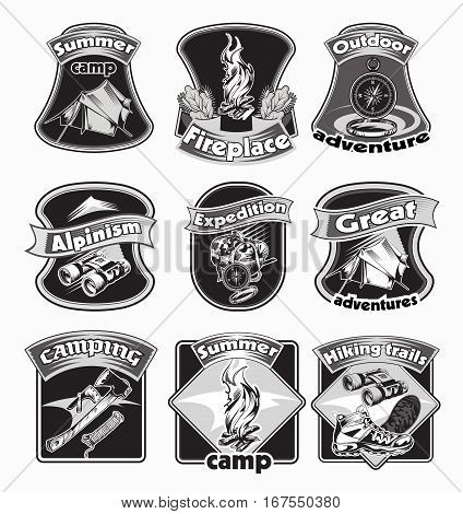 Backpacking emblems set with camping accessories and touristic equipment in monochrome style isolated vector illustration