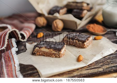 Homemade Healthy Snack Sweets - Energy Nut Bars. Sugar-free, Gluten-free, Without Baking. Selective