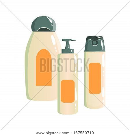 Shampoo, Deodorant And Soap Dispenser Containers, Beauty And Skincare Product Line Set Template Design. One Brand Items For The Cosmetic Treatment And Beautifying Procedures Cartoon Objects.