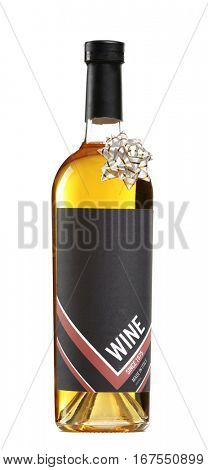 St. Valentines Day concept. Wine bottle isolated on white