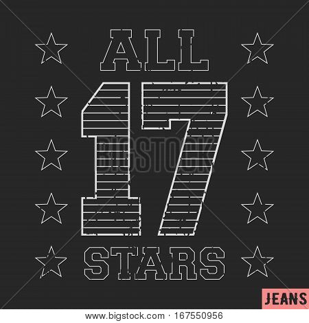 T-shirt print design. 17 all star vintage stamp. Printing and badge applique label t-shirts jeans casual wear. Vector illustration.