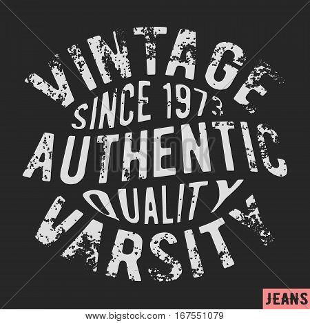 T-shirt print design. 1973 vintage stamp. Printing and badge applique label t-shirts jeans casual wear. Vector illustration.