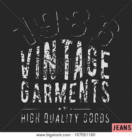 T-shirt print design. 1986 vintage stamp. Printing and badge applique label t-shirts jeans casual wear. Vector illustration. poster