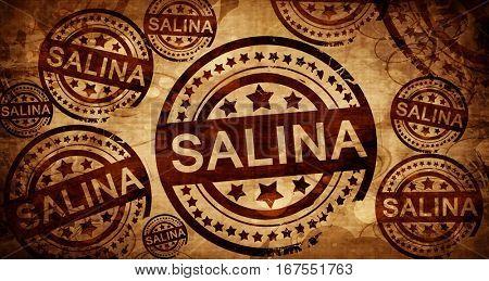 salina, vintage stamp on paper background
