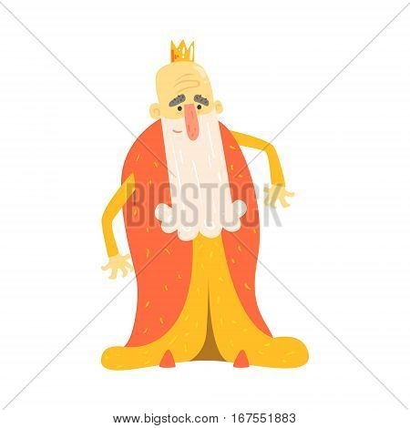 King With Long Beard In Red Mantle Standing Fairy-Tale Cartoon Childish Character. Monarchs From Kids Stories With The Crown Cute Portrait Vector Illustration