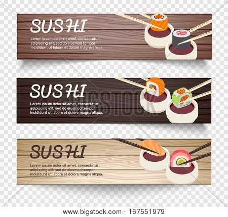 Japanese food horizontal banners with chopsticks holding sushi over bowl with soy on wooden background vector illustration