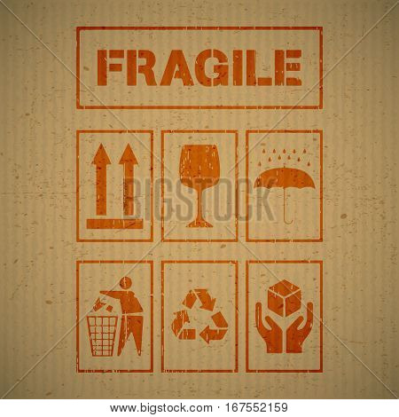 Grunge package handling labels on cardboard background. Fragile this side up glass keep dry keep clean recycling handle with care symbol. Vector illustration.
