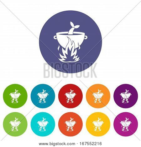 Fish soup on a fire set icons in different colors isolated on white background