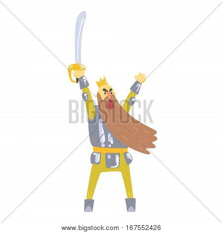 Warrior King With Sword And Armor With Long Beard Shouting On Battlefield Fairy-Tale Cartoon Childish Character. Monarch From Kids Stories With The Crown Cute Portrait Vector Illustration