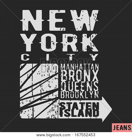 T-shirt print design. New York vintage stamp. Printing and badge applique label t-shirts jeans casual wear. Vector illustration.