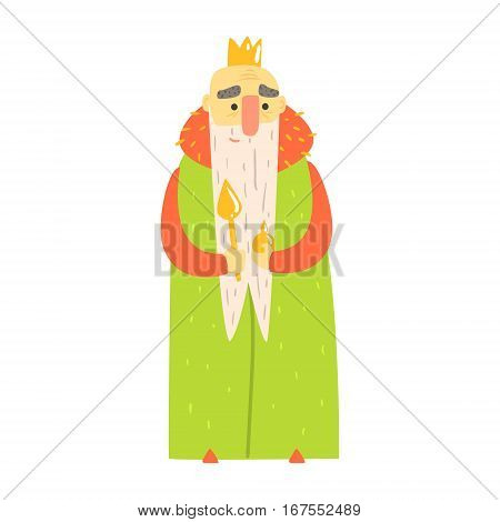 Kind Old King With Orb And Scepter In Green Mantle Fairy-Tale Cartoon Childish Character. Monarch From Kids Stories With The Crown Cute Portrait Vector Illustration