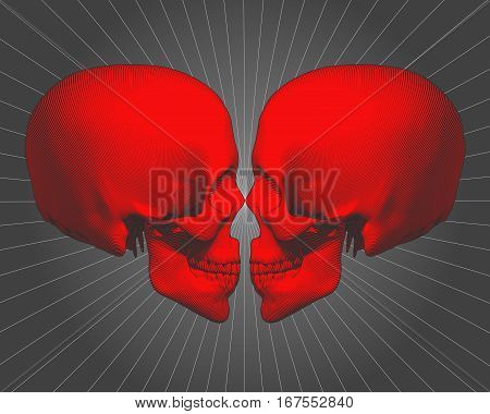 A pair of red engraving skull vector illustration side view facing on shining gray background