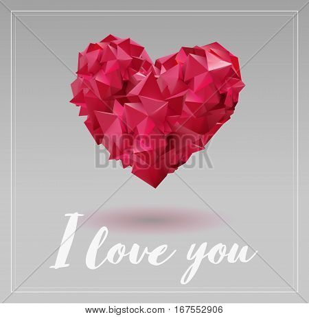 Abstract geometric red heart symbol shape combination on light gray background for valentine greeting