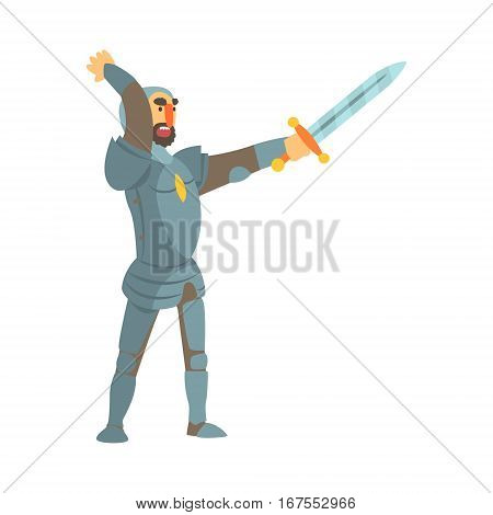 Knight Attacking With Full Body Armor And Sword Fairy Tale Cartoon Childish Character. Flat Vector Illustration With Medieval Soldier Legend Story Hero