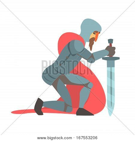 Knight With Red Cape And Sword Kneeling Fairy Tale Cartoon Childish Character. Flat Vector Illustration With Medieval Soldier Legend Story Hero