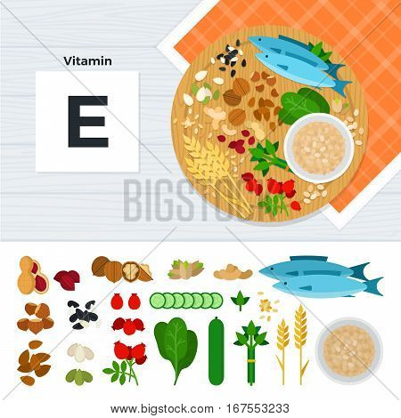 Vitamin E vector flat illustrations. Foods containing vitamin E on the table. Source of vitamin E: nuts, corn, cucumber, fish, flakes isolated on white background