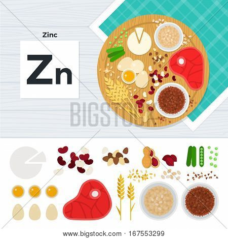 Vitamin Zn vector flat illustrations. Foods containing vitamin Zn on the table. Source of vitamin Zn: egg, meat, corn, nuts, peas, flakes isolated on white background