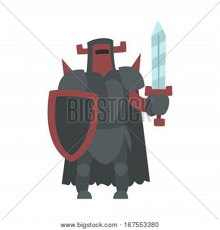German Strong Knight With Sword And Shield Fairy Tale Cartoon Childish Character. Flat Vector Illustration With Medieval Soldier Legend Story Hero