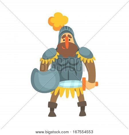 Roman Knight With Shield In Skirt Fairy Tale Cartoon Childish Character. Flat Vector Illustration With Medieval Soldier Legend Story Hero