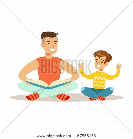 Dad And Son Reading A Book, Loving Father Enjoying Good Quality Daddy Time With Happy Kid. Child And Parent Having Fun Together Vector Cartoon Illustration.