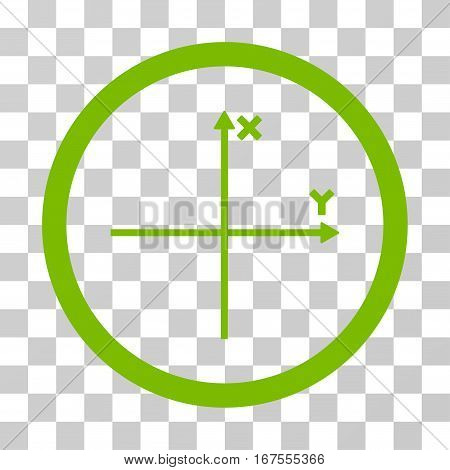 Coordinate Axis rounded icon. Vector illustration style is flat iconic symbol inside a circle eco green color transparent background. Designed for web and software interfaces.