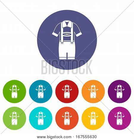 T-shirt and pants with suspenders set icons in different colors isolated on white background